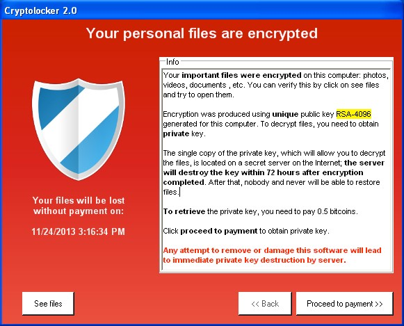Cryptolocker is a common ransomware product that encrypts all of your files, and tells you so